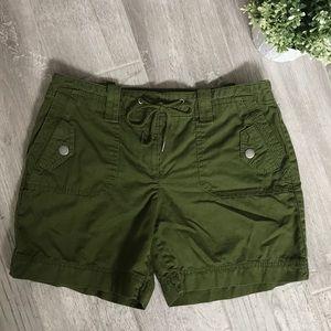 LOFT Army Green Shorts with drawstring, Size 2